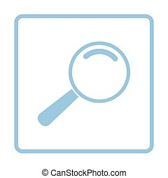 Loupe icon. Blue frame design. Vector illustration.