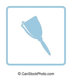 School hand bell icon. Blue frame design. Vector...