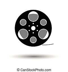 Film reel icon. White background with shadow design. Vector...