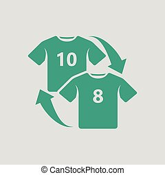 Soccer replace icon. Gray background with green. Vector...