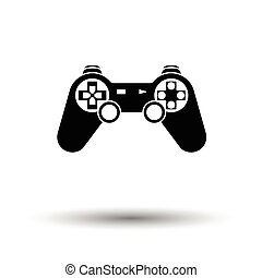 Gamepad icon. White background with shadow design. Vector...