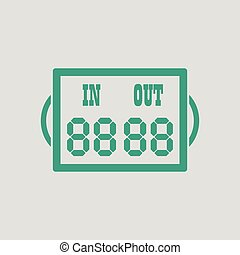 Soccer referee replace scoreboard icon. Gray background with...