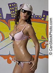 Hip hop girl - Beautiful brunette lingerie model pulling on...