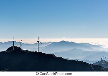 inland wind farm on jiugong mountain ,hubei province,China