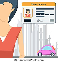 Girl with car and driver license - Vector illustration in...
