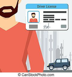 Man with car and driver license