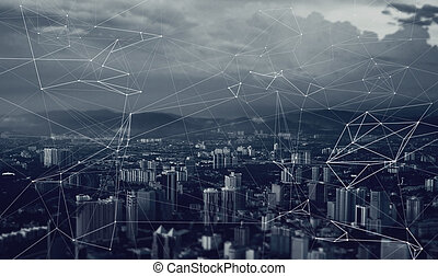 network of relationships and contacts over the metropolis ,...