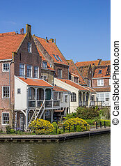 Old houses around the harbor in Enkhuizen, Holland