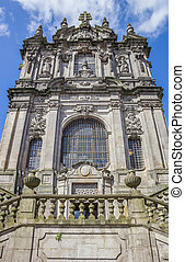 Facade of the Igreja dos Clerigos in Porto, Portugal