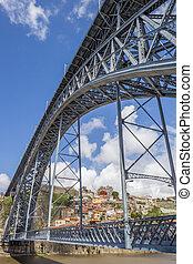 Steel bridge Ponte Luis I between Porto and Gaia