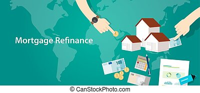 mortgage refinance home house loan debt vector