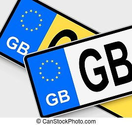 GB Licence Plates - Front and rear British vehicle licence...