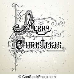 Merry Christmas lettering design message. Design and vintage...
