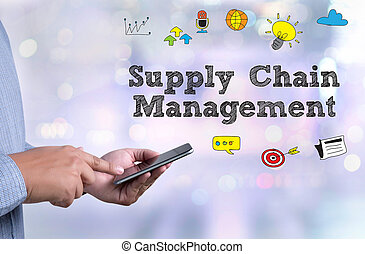 SCM Supply Chain Management concept person holding a...