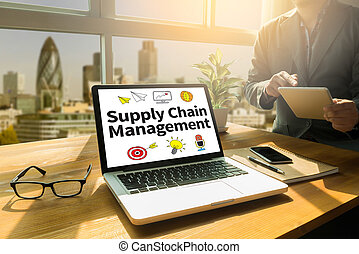 SCM Supply Chain Management concept Thoughtful male person...