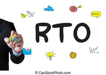 RTO - Recovery Time Objective and Businessman drawing...