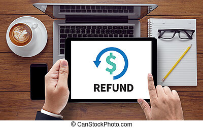 REFUND and Tax Refund Fine Duty Taxation , on the tablet pc...