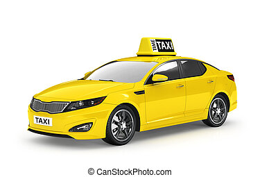 Yellow taxi isolated on white background. 3d illustration