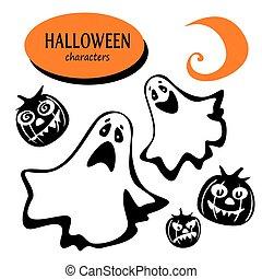halloween phantom characters - Set of Halloween characters...