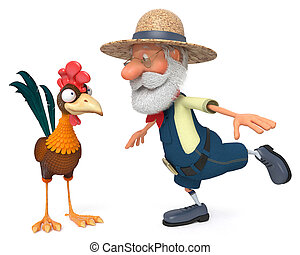 3d illustration the farmer and cock - 3d illustration...