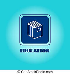 Education logo with book pile
