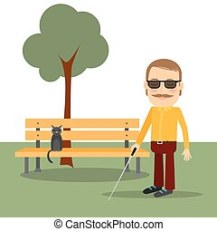 Blind man in the park standing near the bench. Vector...