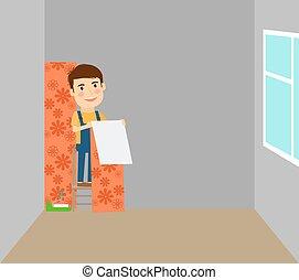Man makes repairs in room - Man making repairs in room,...