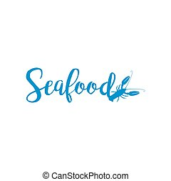 Seafood lettering design isolated on white Vector...
