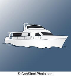 Yacht for leisure and travel. Blue background. Marine and...