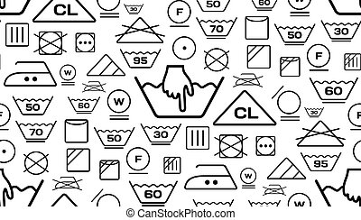 Pattern created from laundry washing symbols on a white background