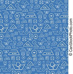Pattern created from laundry washing symbols on a blue background