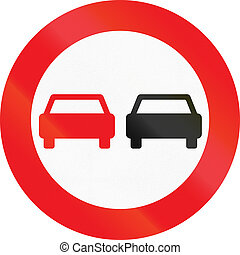 Road sign used in Denmark - No overtaking