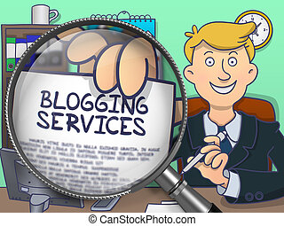 Blogging Services through Magnifying Glass. Doodle Design. -...