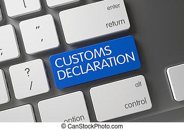 Blue Customs Declaration Key on Keyboard. 3D. - Customs...