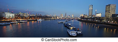 London skyline, night view - London skyline, include...
