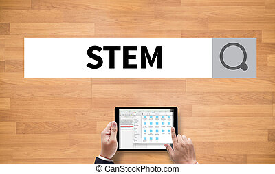 STEM , on the tablet pc screen held by businessman hands -...