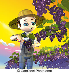 Farmer grapes - 3d illustration, Farmer grapes
