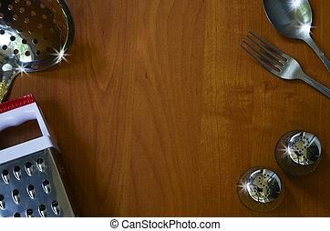 用具, 空間, 正文, 木頭, 背景, 廚房