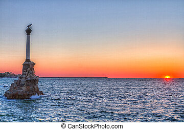 Sevastopol Monument to the scuttled ships on a background...
