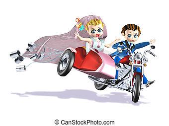 wedding cans pink sidecar - 3d illustration rendering,...