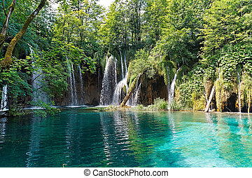 Lake and waterfalls in Croatia - Waterfalls and lake in...