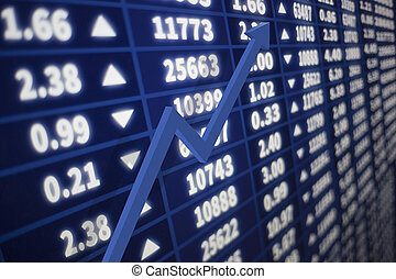 Stock market graph with arrow