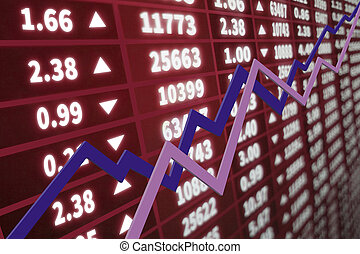 Stock market graph with chart