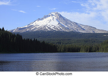 Mt Hood and Trillium lake, OR - Boats and fishermen on the...