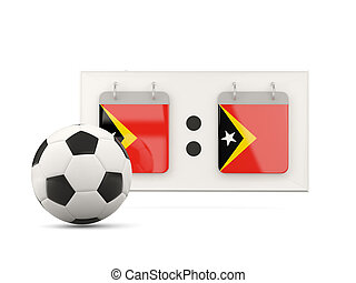 Flag of east timor, football with scoreboard and national...