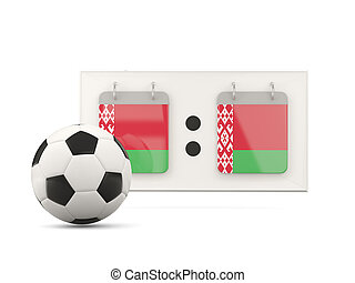 Flag of belarus, football with scoreboard