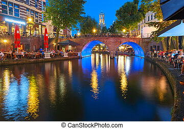 Night Dom Tower and bridge, Utrecht, Netherlands - Dom Tower...