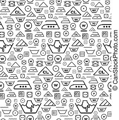Pattern created from laundry washing symbols on a white...