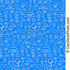 Pattern created from laundry washing symbols on a blue...