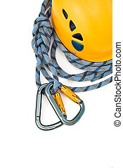 climbing equipment - caraners, helmet and rope
